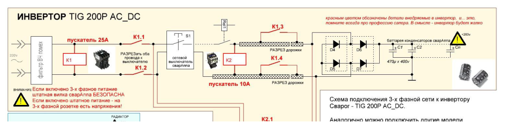 Схема подключения 3-х фазной сети к инвертору Сварог TIG 200P AC_DC Часть 1